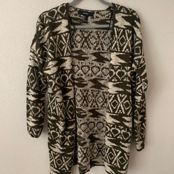 Forever 21 Sweaters - FOREVER 21 Tribal Printed Forrest Green Cardigan